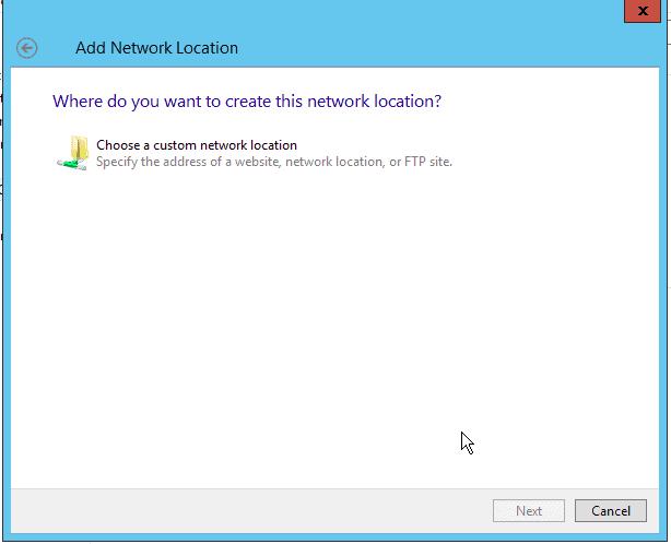 Choose Custom Network Location