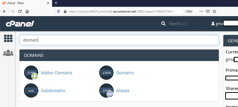 cpanel domain options