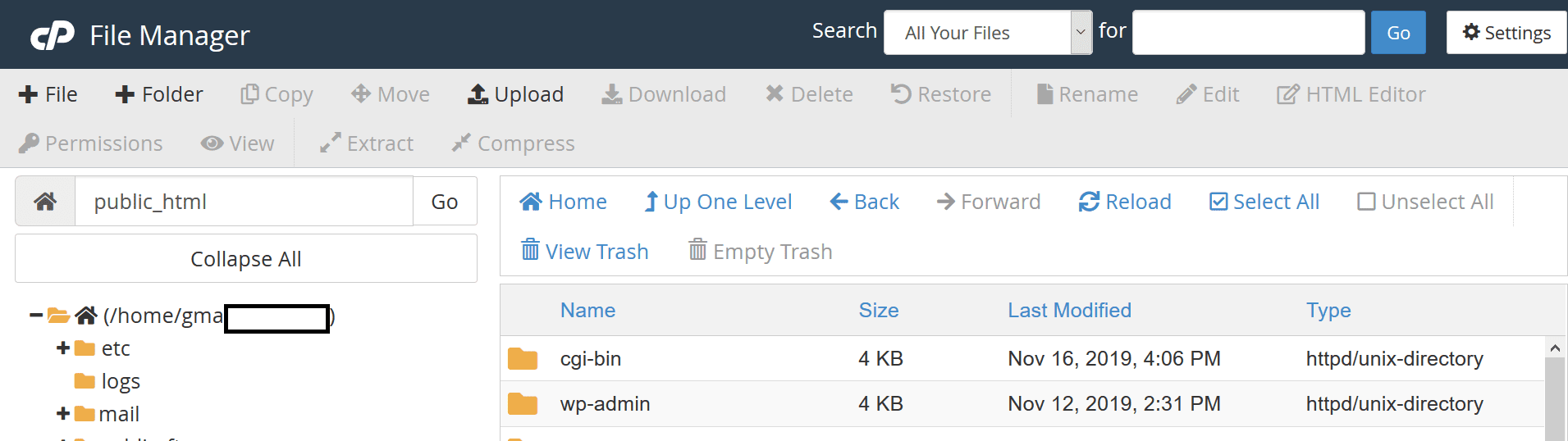 cpanel file manager options directories