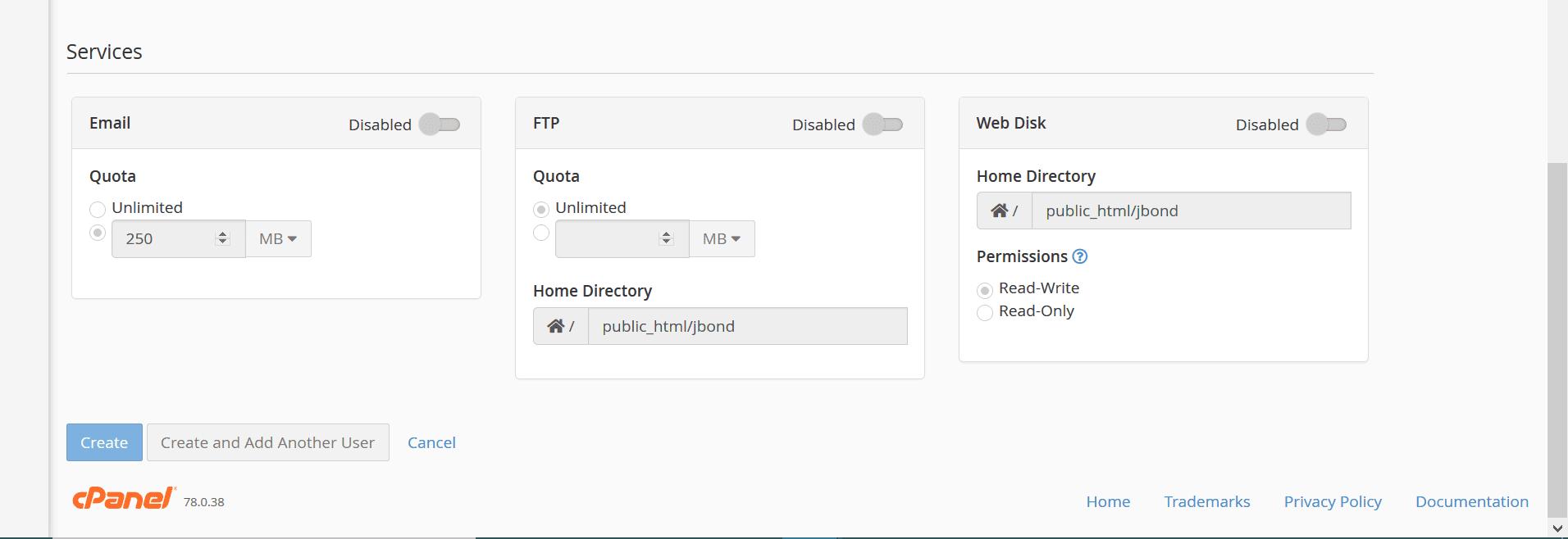 cpanel set change password