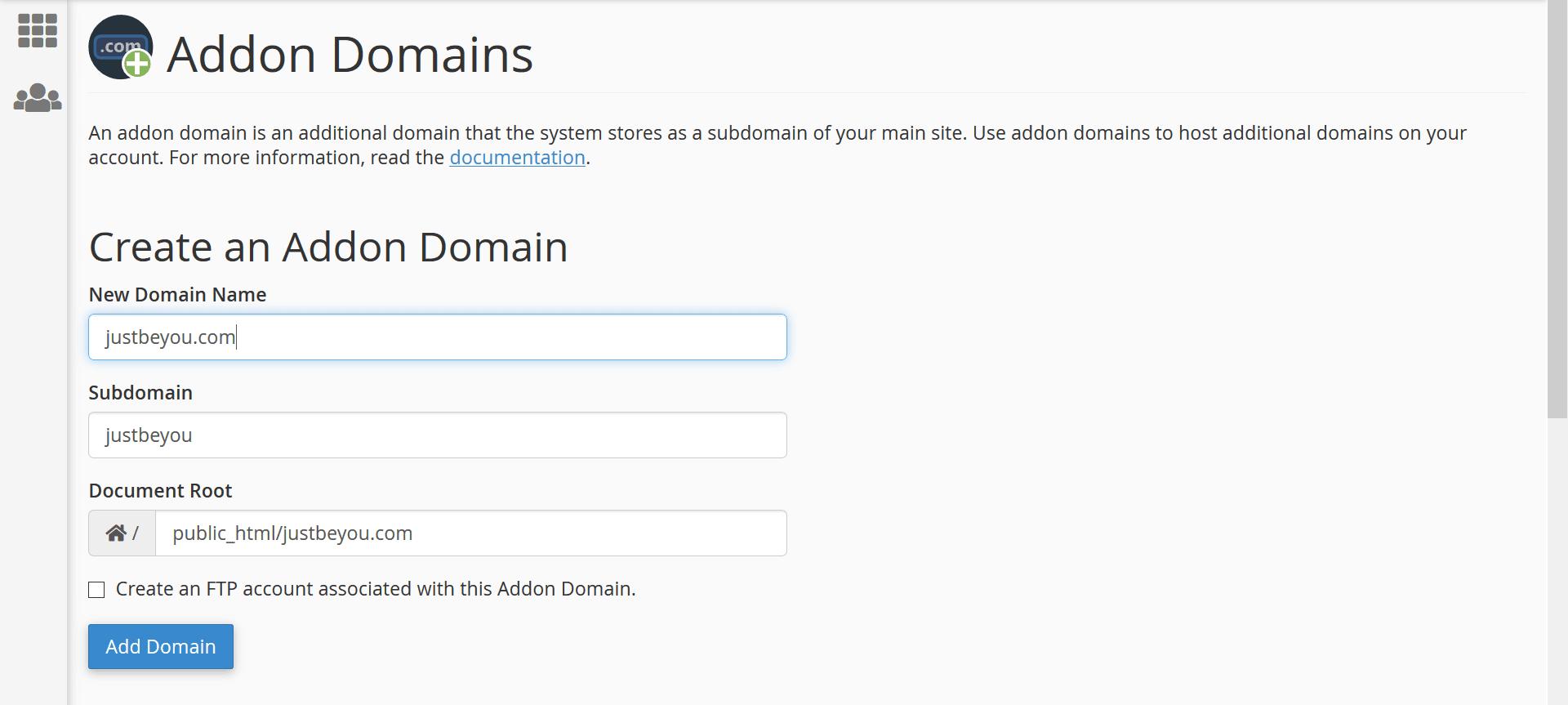 create addon domain cpanel