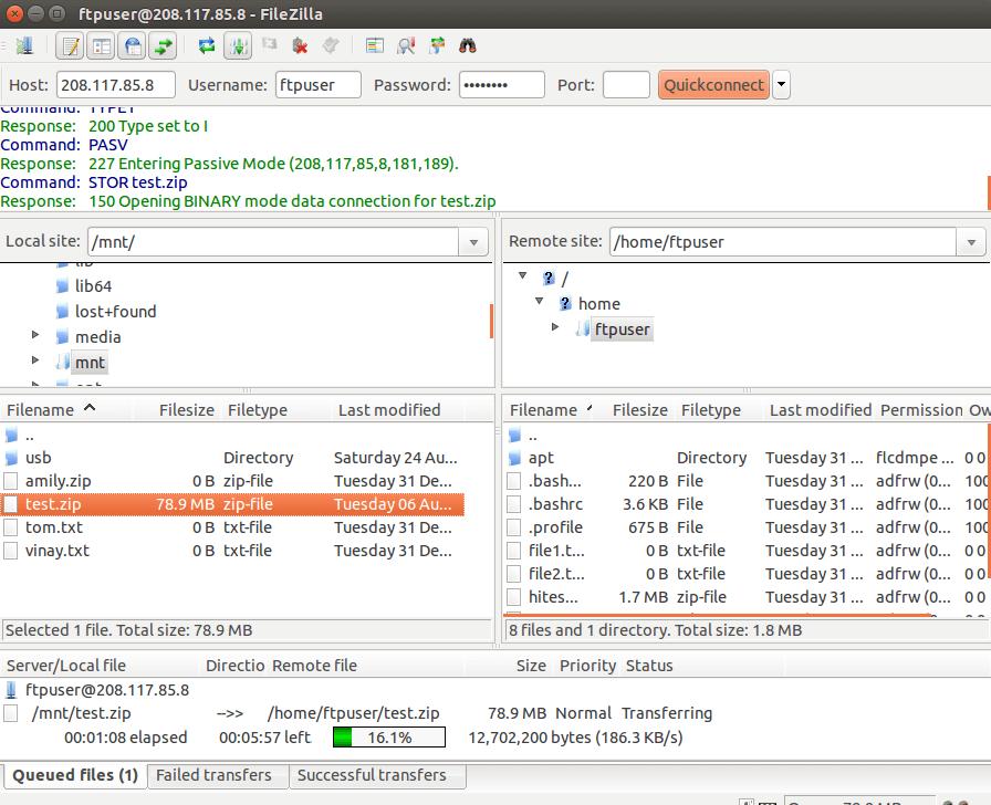Filezilla File Transfer