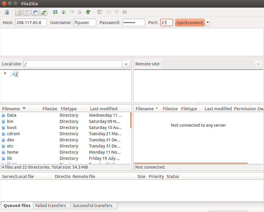 Open Filezilla Client