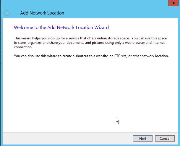 Windows Add Network Location Wizard
