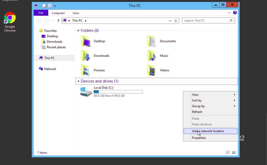 Windows Add Network Location