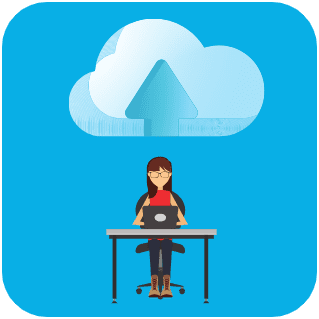 woman using cloud storage