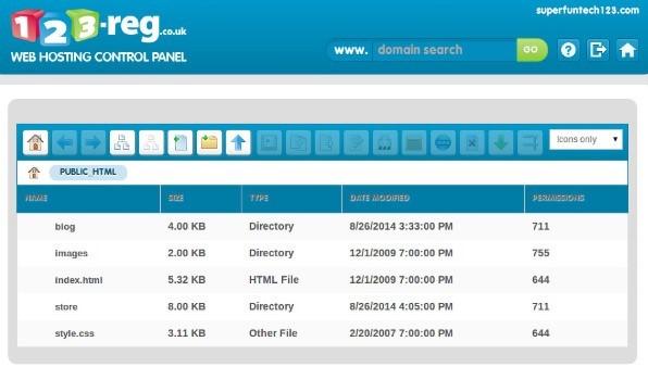 123reg hosting control panel