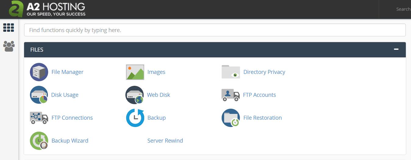 a2 hosting control panel