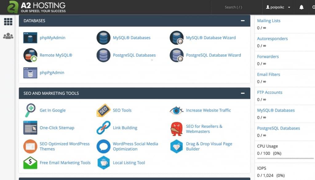 a2 hosting dashboard
