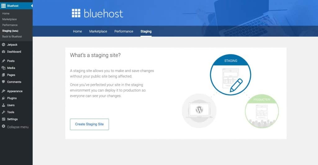 bluehost staging site