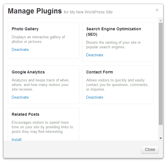 fatcow manage plugins