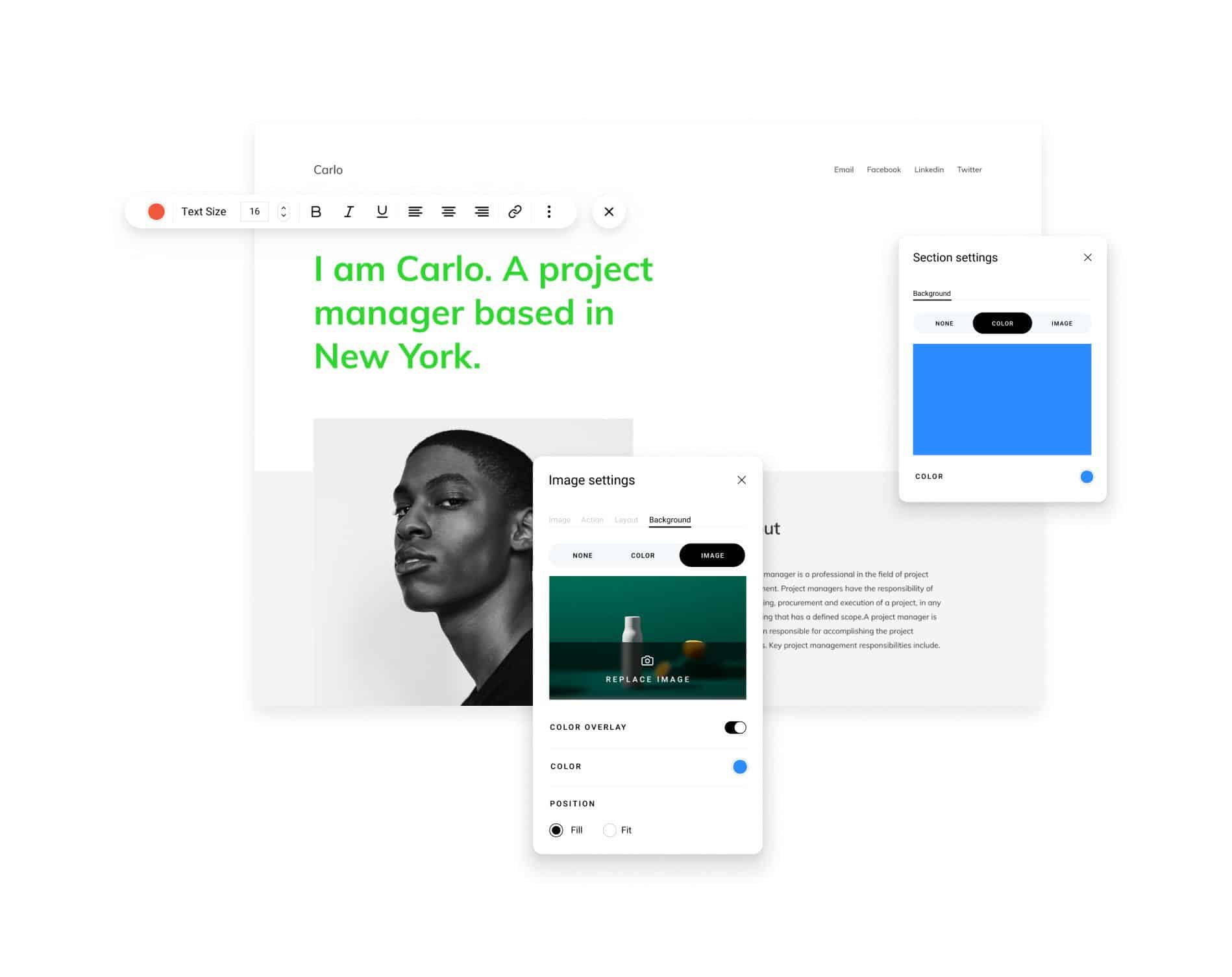 Zyro website builder project manager site design