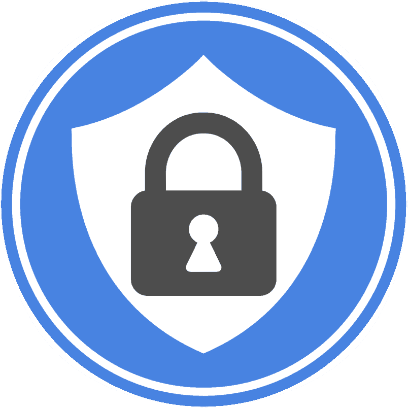 Black lock inside blue circle for online privacy icon