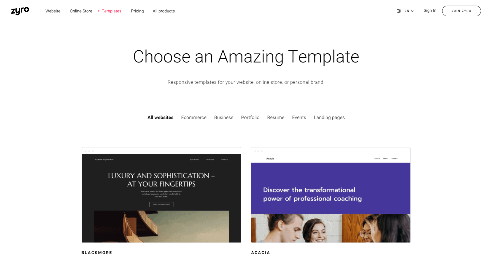 Choose a template on zyro website