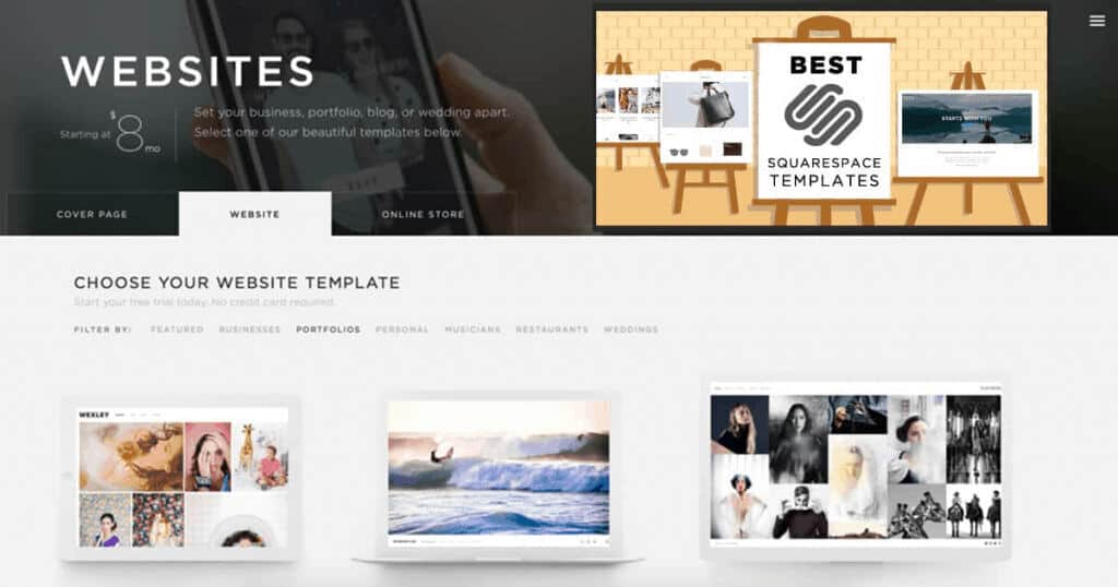 Squarespace Website Template Selection