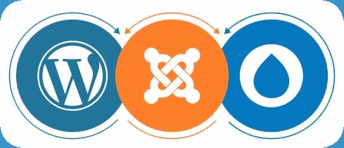 WordPress Drupal and Joomla Logos