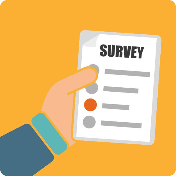 hand holding a survey