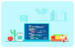 Programmer's workplace illustration