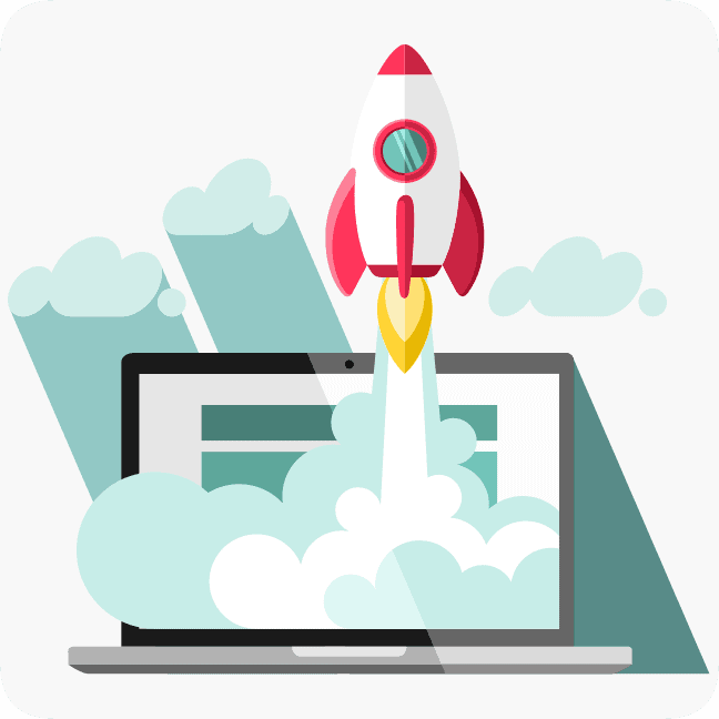 rocket launch from a laptop representing starting a website