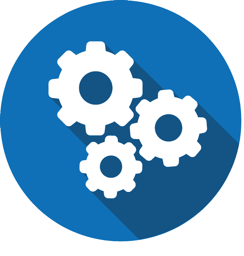 3 white gears in blue circle actin as an integration icon