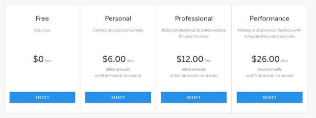 Weebly Pricing and plans