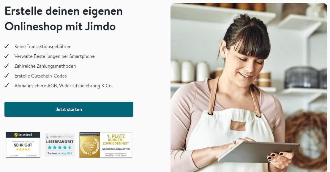 Jimdo Onlineshop Eigenschaften