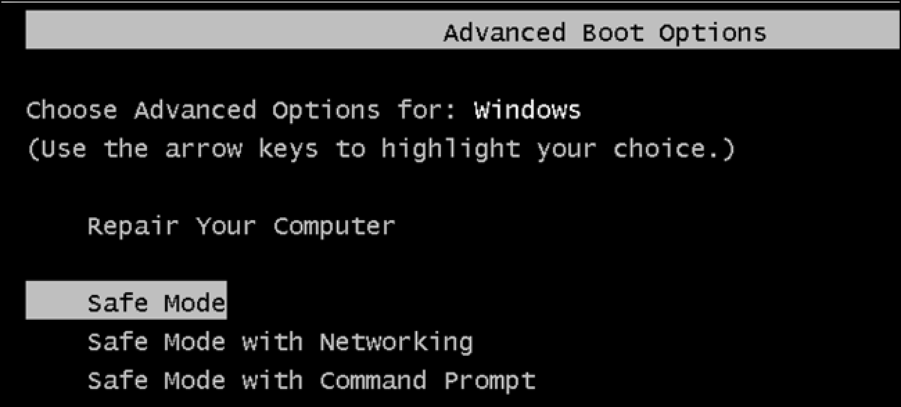 boot up in safe mode