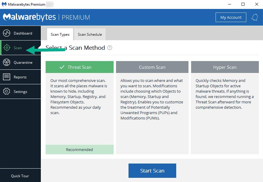 malwarebytes threat scan method