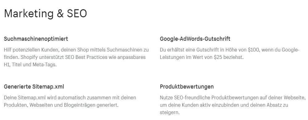 Shopify Marketing und SEO Funktionen