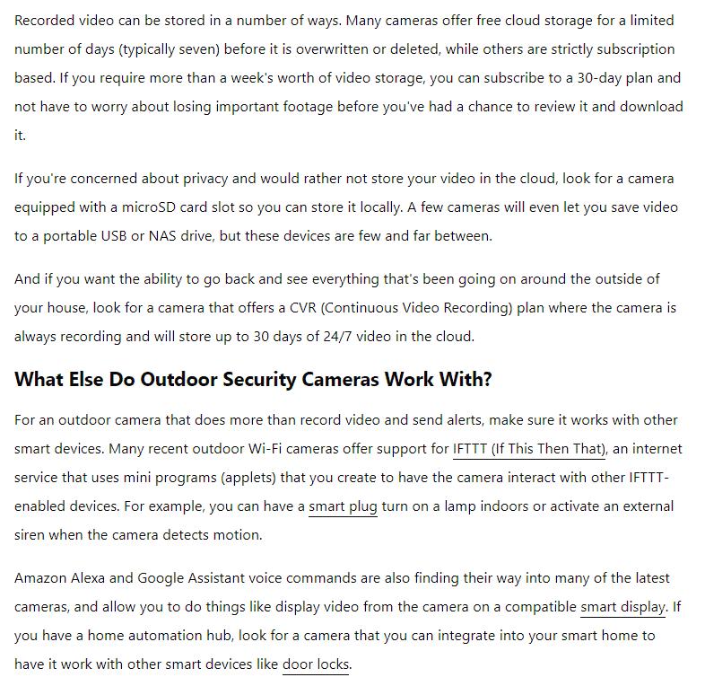 How do security cameras store videos