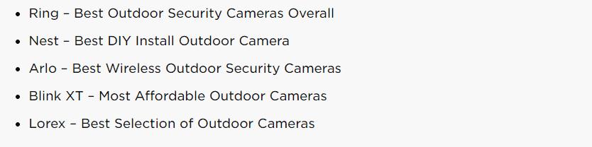 list of best outdoor security cameras