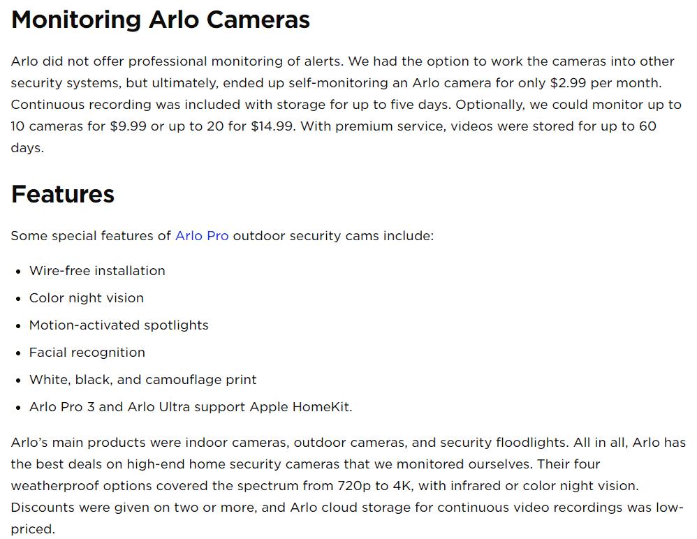 Monitoring Arlo Cameras