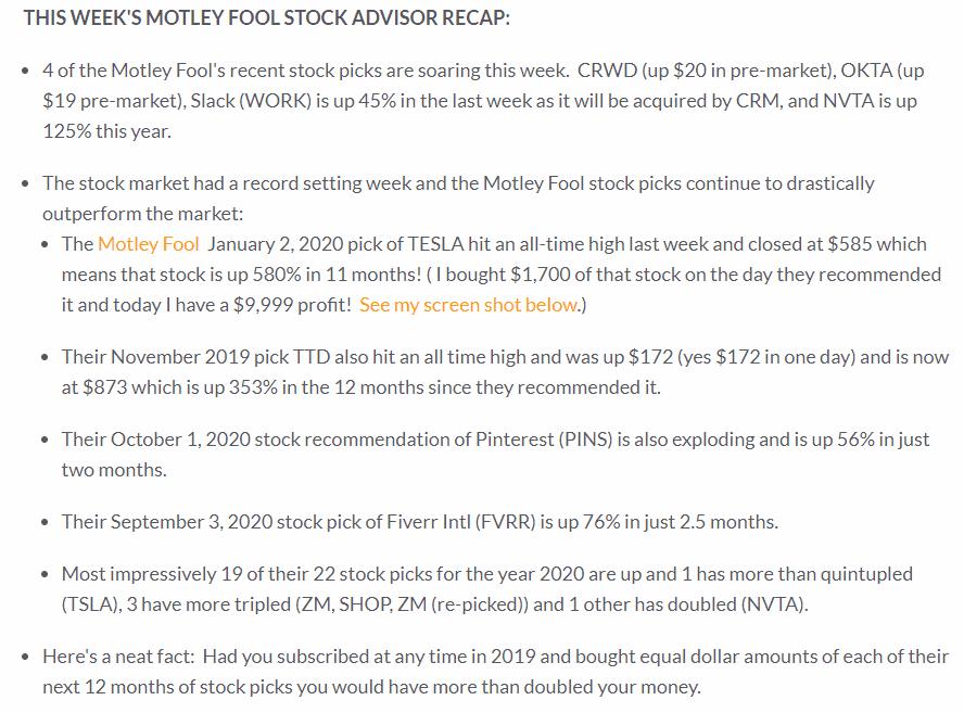 Motley Fool Stock Advisor Recap
