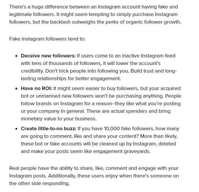 avoid fake instagram followers