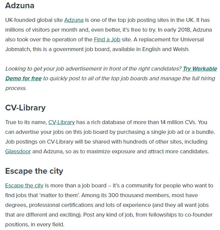 job sites in the UK