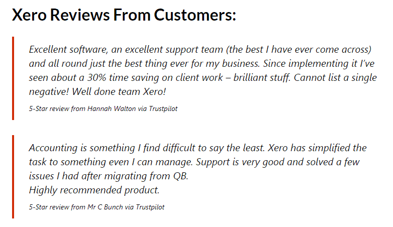 xero reviews from customers