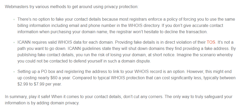 getting around domain privacy protection