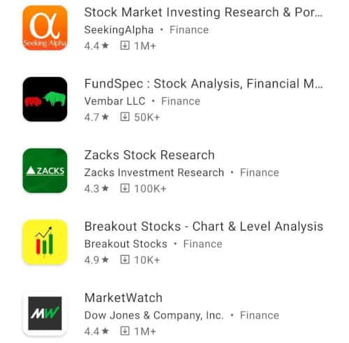 stocks research and analysis apps