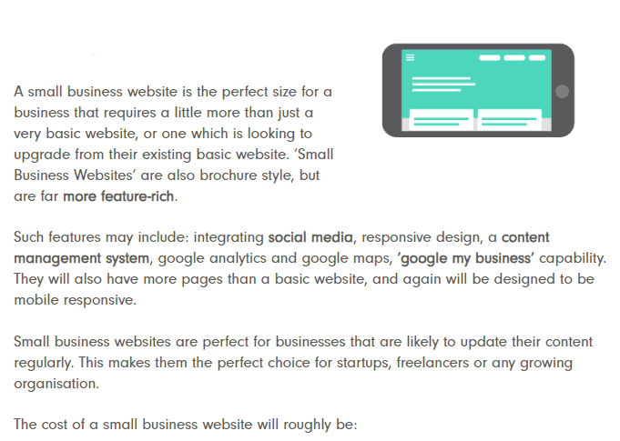 Cost of a small business website