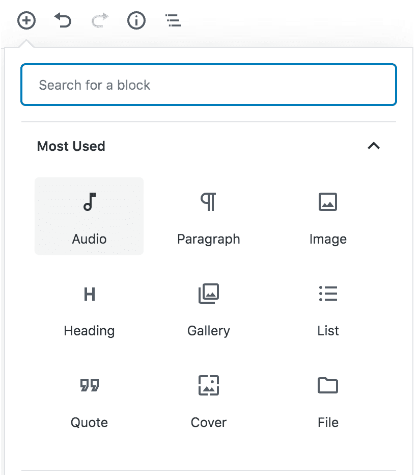 search for audio block in wordpress