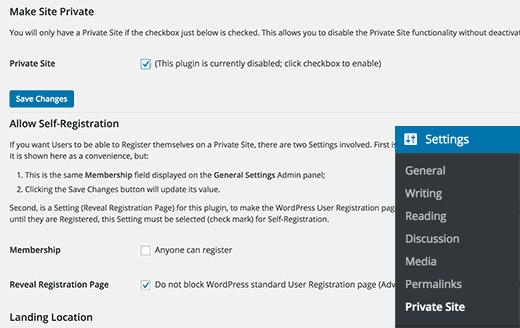 private-site-settings