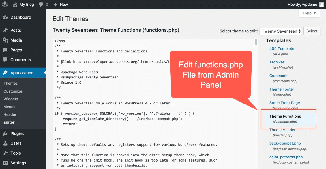 Edit Functions.php