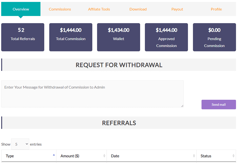 affiliate withdrawal